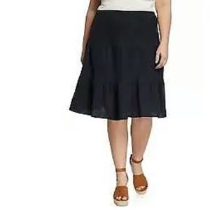 Lane Bryant Black Stretch Waist Linen Skirt